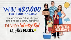 """Channel Seven – Sunrise """"Diary of A Wimpy Kid: The Long Haul – Win $20,000 AUD cash to the winning school towards a brand new school library"""