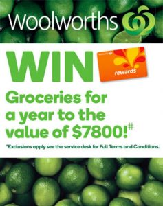 Woolworths – Win 1 of 4 prizes of Groceries for a Year valued at $7,800 each at Harrisdale, Chirnside Park, Golden Grove and Midland Gate stores