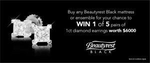 Australian Comfort Group – Beautyrest – Win 1 of 5 pairs of 18ct White Gold Princess Cut Diamond Earrings valued at $6,000