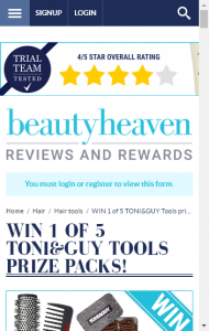 Beauty Heaven  – Win 1 Of 5 Toni  Guy Tools Prize Packs