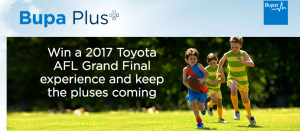 Bupa (members) – Win a family trip of 5 to Melbourne to attend a 2017 Toyota AFL Grand Final valued at up to $15,000