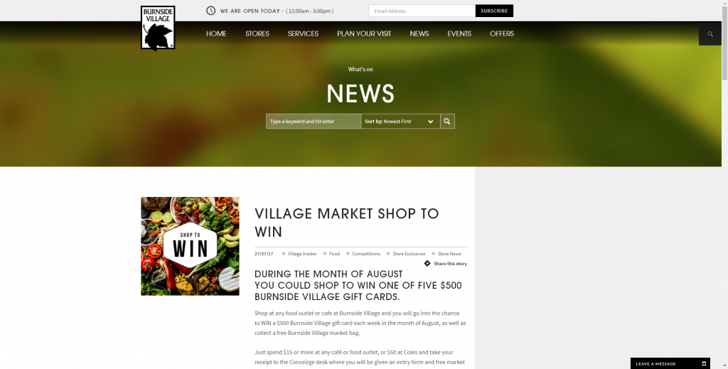 Burnside Village Shop And –  Win One Of Five $500 Burnside Village Gift Cards  (prize valued at  $2,500)
