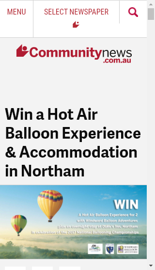 Community News –  Win A Sunrise Hot Air Balloon Flight For 2 People In Northam Plus Overnight Accommodation In A Double Story Townhouse At The Heritage-Listed Duke's Inn