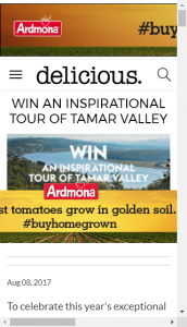 Delicious  –  Win An Inspirational Tour Of Tamar Valley (prize valued at  $4,500)