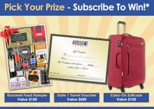 Gate 1 Travel – Sign up to Win your choice of a Gourmet Food Hamper, Carry-on Suitcase OR $500 Gate 1 Travel Voucher
