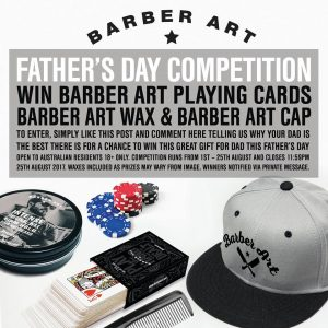 Hairjamm – Barber Art Father's Day – Win a Barber Art Wax, Barber Art Cap and Barber Art playing cards for your Dad