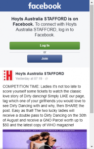 Hoyts Stafford – Win A Dp To Girls Night Out Dirty Dancing Screening