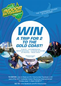 Indoor Skydiving Penrith – Australian Indoor Skydiving Championship 2017 – Win a trip for 2 to the Gold Coast