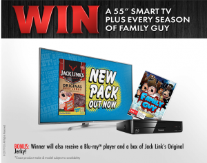 Jack Links Australia – Win 1 of 4 prize packs including a 55″ LCD TV, Family Guy DVD Box Set, Bose Wireless Headphones and more