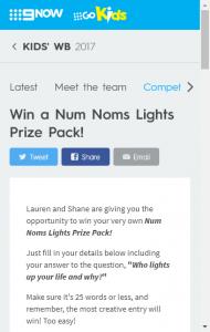 Kids' Wb – Win A Num Noms Lights Prize Pack (prize valued at  $64)
