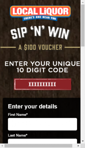 Local Liquor Sip 'n'  Win 70 x $100 Local Liquor Gift Certificates (prize valued at  $7,000,)