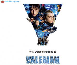 Luna Park Sydney – Valerian and the City of a Thousand Planets – Win 1 of 10 prizes of a double ticket & 2 Unlimited Rides passes