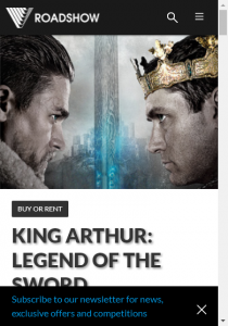 Roadshow Entertainment – Win One Of Five King Arthur Packs Closes @5pm