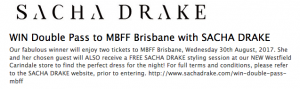 SACHA DRAKE – Win a Double Pass to MBFF Brisbane