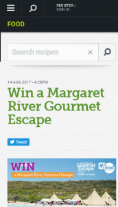 SBS-Food – Win A Margaret River Gourmet Escape (prize valued at  $5,000)