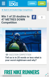 Student Edge  – Win 1 Of 20 Doubles To 47 Metres Down (prize valued at  $820)