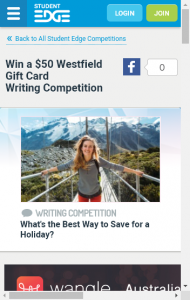 Student Edge  – Win A $50 Westfield Card – 400 Word Writing Competition (prize valued at  $50)