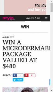 Style Magazines  – Win A Microdermabrasion Package (prize valued at  $480)