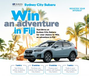 Subaru – Test Drive at Sydney City Subaru for your chance to Win an Adventure in Fiji