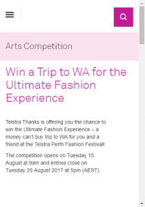 Telstra Thanks  – Win A Trip To Perth Fashion Festival  (prize valued at  $26,500)