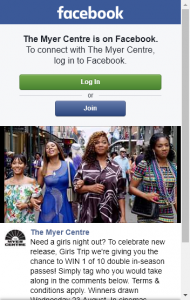 The Myer Centre  –  Win 1 Of 10 Double In-Season Passes  (prize valued at  $350)