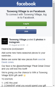 Toowong Village –  Win A Toowong Village $200 Gift Card (prize valued at  $200)