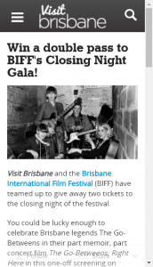 VisitBrisbane – Win DP To Closing Night Of Brisbane Film Festival
