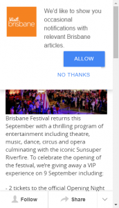 Visitbrisbane – Win Tickets Brisbane Festival Opening Night Closes @9am