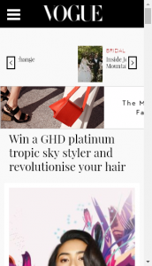 Vogue Magazine  –  Win Your Very Own Ghd Platinum Tropic Sky Styler  (prize valued at  $945)