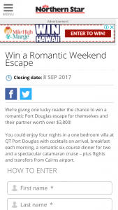 APN Newspapers – Win A Romantic Port Douglas Escape For Themselves And (prize valued at  $3,800)