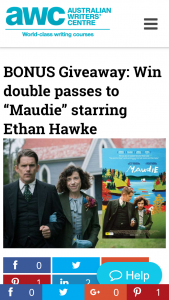 "Australian Writers Centre – Win Double Passes To ""maudie"" Starring Ethan Hawke"
