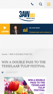 3AW – Win A Double Pass To The 64th Tesselaar Tulip Festival