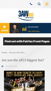 3AW – Win Tickets To Every 2017 Toyota Afl Final Series? (prize valued at $1,500)