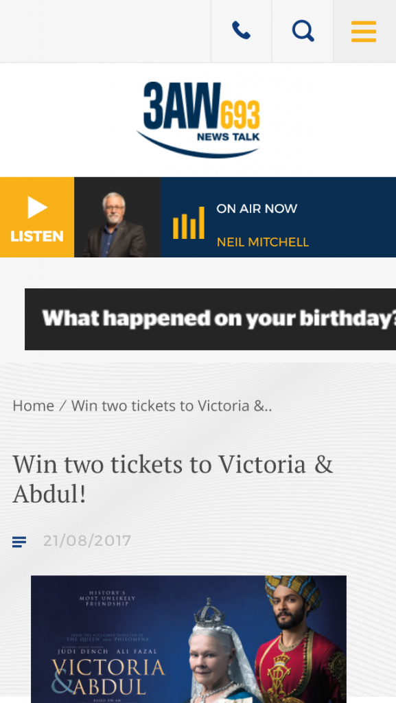 3AW – Win Two Tickets To 3aw's Advance Screening Of Victoria Abdul Wednesday September 13 At Hoyts Melbourne Central
