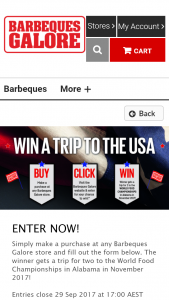 Barbeques Galore – Make a purchase to – Win Prizes In Any Other Competitions