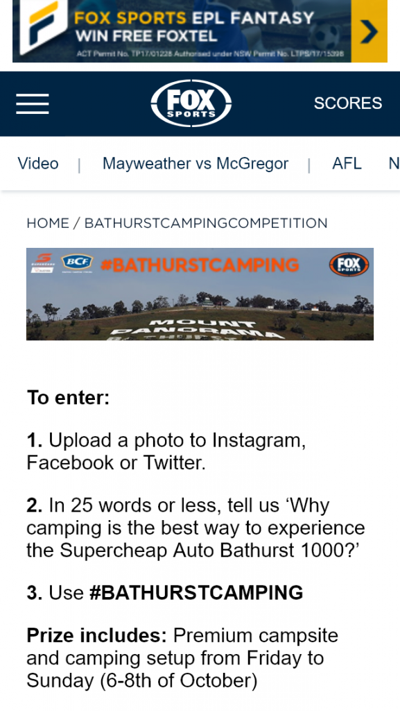 Fox Sports – Win the Bathurst camping experience valued at $5,677