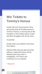 Inside Golf – Win Tickets To Tommy's Honour