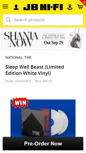 "JB HiFi – Win A 7"" Single Signed By The National"