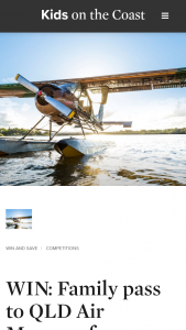 Kids in the City/ Kids on the Coast –  Win a Paradise Sea Planes Maroochy River Adventure For 2 valued at $298
