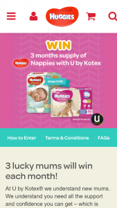 Kimberly Clark Huggies  – Win Three Months Supply Of Huggies (prize valued at $359.76)