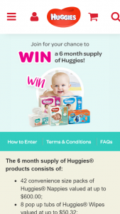 Kimberly Clark / Join Huggies Club – Win Six Months Supply Of Huggies Products (prize valued at $810.46)