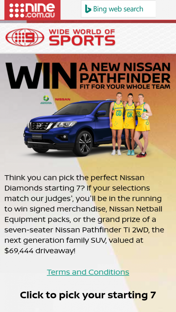 Channel Nine – Nissan – Win A Nissan Pathfinder Ti 2WD (with premium paint) (prize valued at $69,444)