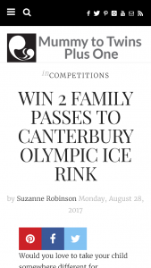 Mummy To Twins Plus One – Win 2 Family Passes To Canterbury Olympic Ice Rink