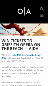 Opera Qld – Win Tickets To Griffith Opera On The Beach — Aida