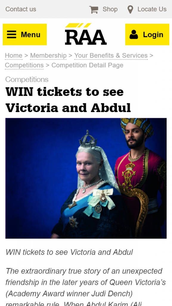 RAA  – Win 1 of 10 Double Passes to see Victoria And Abdul