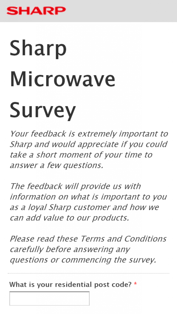Sharp – Sharp Microwave Survey –  Win A Sharp R820EBK Convection Microwave Oven Valued At $329  (prize valued at $329)