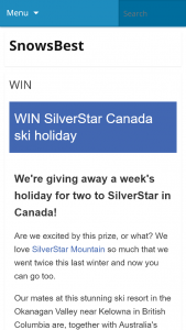 Snowsbest – Win Six Nights In A One Bedroom Condo For Two Adults (prize valued at  $8,000)