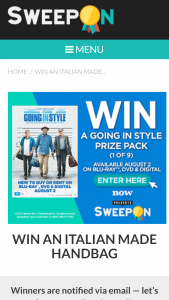 Sweepon – Win An Italian Made Handbag (prize valued at  $405)