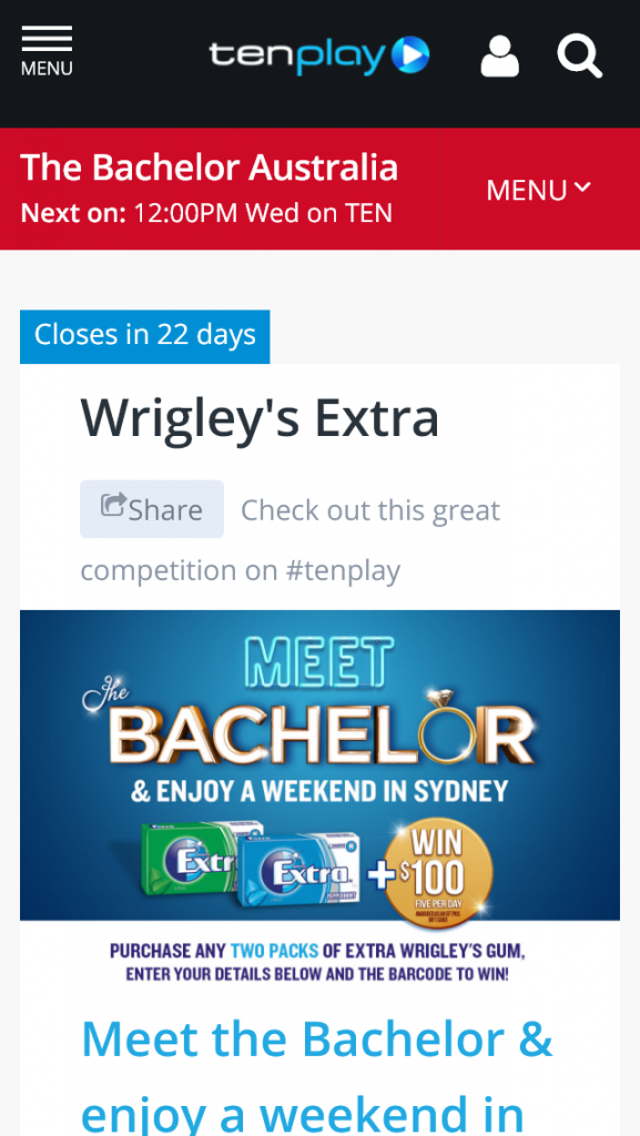 Channel Ten – Meet Bachelor and have weekend in Sydney – Competition (prize valued at $18,250.)