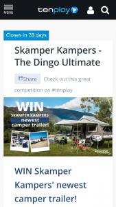 Channel Ten – Win Skamper Kampers' Newest Camper Trailer (prize valued at  $25,500)
